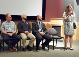 Panelists at the Sept. 20 drug forum at the Southeast Alaska Discovery Center  included law enforcement, health professionals and a recovering addict. (Photo by Deb Turnbull)