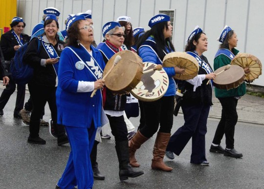 Alaska Native Sisterhood members march in Wrangell during the Grand Camp's 2015 Convention in Wrangell. (Photo courtesy Peter Naoroz/ANB)