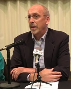 Borough Mayor David Landis speaks during a recent Ketchikan Chamber of Commerce candidate forum. (Photo by Leila Kheiry)