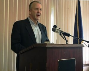 Alaska's Sen. Dan Sullivan talks to the Ketchikan Chamber of Commerce on Aug. 31. (Photo by Leila Kheiry)