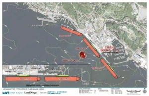 Options for changing the dock include lengthening the Berth 3 floating barge, extending Berth 1, and adding floating docks to Berths 1 and 2.  (Image courtesy City of Ketchikan Port and Harbors Department)