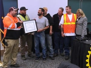 City of Ketchikan Solid Waste Division employees were honored during Wednesday's Chamber of Commerce/Rotary lunch for excellence in customer satisfaction. (Photo by Leila Kheiry)