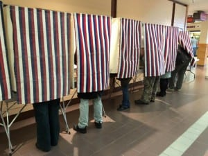 Voters cast their ballots at The Plaza mall. (Photo by Leila Kheiry)
