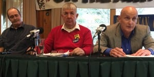 From left, House District 36 candidates Ken Shaw, Bob Sivertsen and Dan Ortiz answer questions during a Ketchikan Chamber of Commerce lunchtime forum. (Photo by Leila Kheiry)