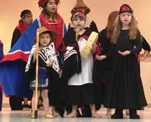 Young members of the New Path Dancers perform before Wednesday's Ketchikan School Board meeting. (Photo by Leila Kheiry)