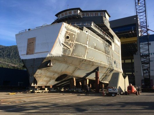 The forward half of the Alaska Class Ferry Tazlina moved out of the assembly hall at the Vigor Alaska shipyard in Ketchikan. (Photo by Leila Kheiry)