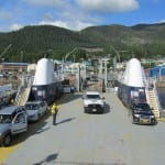 The ferry Lituya loads vehicles onto its car deck at the Ketchikan Ferry Terminal before sailing to Metlakatla. (Photo by Linda Hall/Alaska DOT&PF)