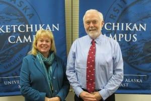 UAS Ketchikan Campus Director Priscuilla Schulte and UAS Chancellor Richard Caulfield.
