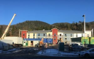 The new My Place hotel in Ketchikan is under construction, but officials plan to open in early February. (KRBD photo by Leila Kheiry)