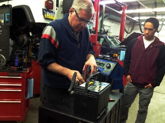 David Sweetman demonstrates battery work.
