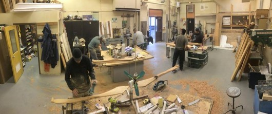 A recent One People Canoe Society paddle-carving workshop in Angoon. (credit: Mike Chilton)