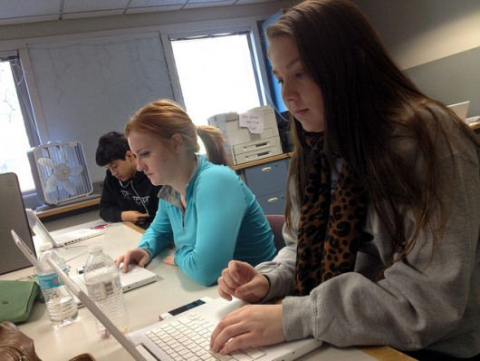 Maddie Robinson (r) and Naomi Updike (l) are juniors. They each take one online class.