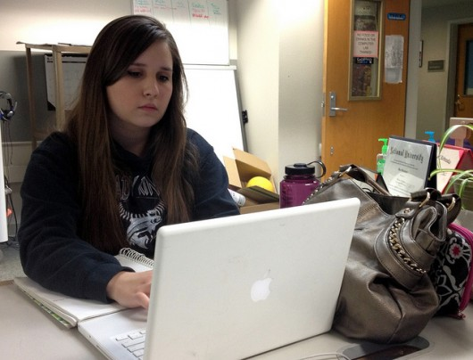 Lizzy Riley, a Kayhi senior, takes two in-person classes and three online.
