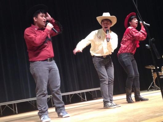 "Three students sang ""A Man of Constant Sorrow."""