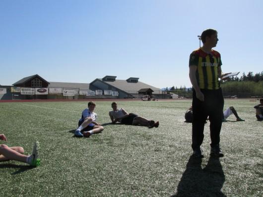 Kayhi Boys Soccer coach Scott Brandt-Erichsen talks to his team about aggression.