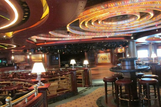 A lounge/performance area in the Crown Princess. The ship holds over 4,000 passengers and crew members.