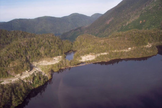 Aerial view of Rich's Pond and Lake Mellen on Prince of Wales Island, part of the area in the Reynolds Creek hydro project.