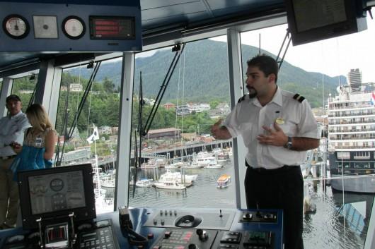 Third officer Valerio explains the equipment in the bridge.