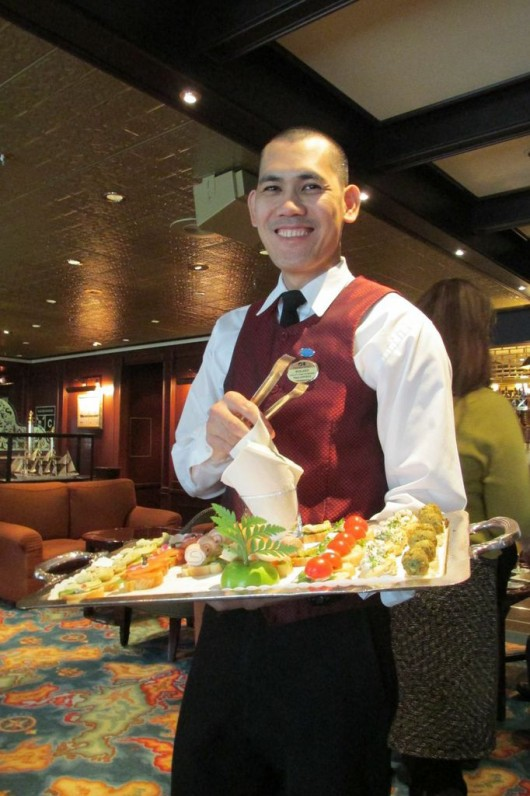 A server in one of the lounges on the Crown Princess.
