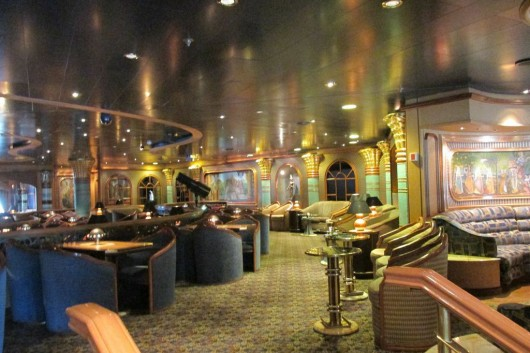 A lounge on the ship, which has 19 floors, or decks.