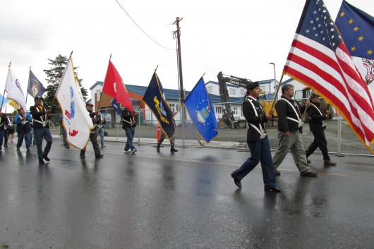 Veterans and current military members lead the parade.