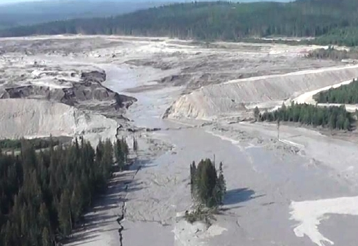 This aerial image shows Monday's Mount Polley Mine tailings dam break and some of the damage downstream. Fishing and environmental groups say the same could happen at new B.C. mines near the Southeast border. (Cariboo Regional District Emergency Operations Centre photo)