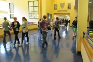 Students walk to class at Schoenbar Middle School