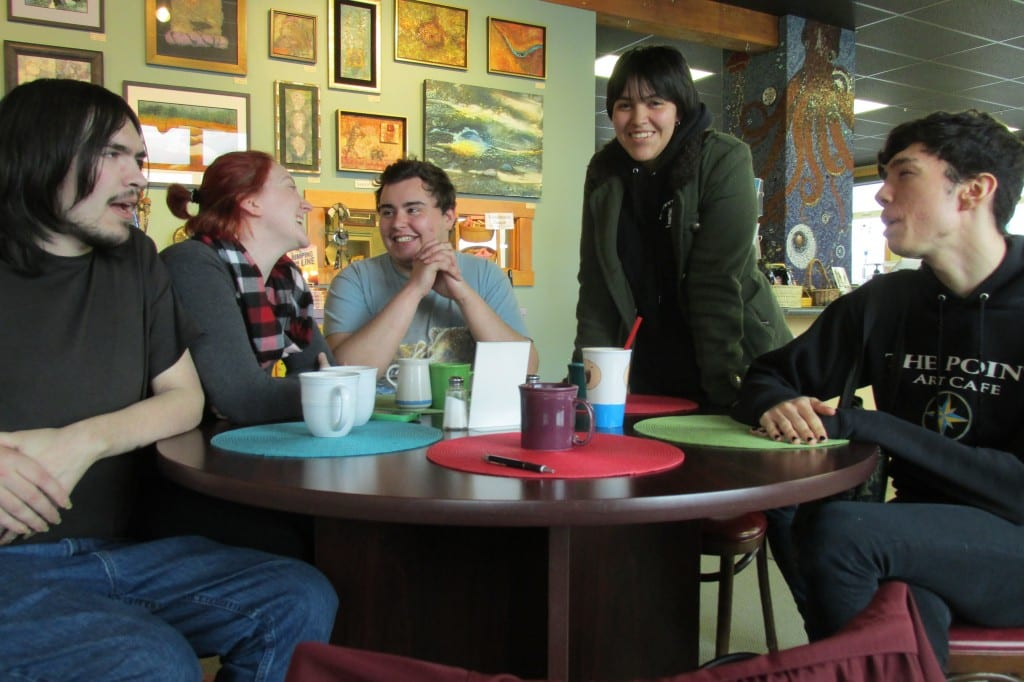 "Jacob Trumble, Holly Nore, Tyler Varner, ""Izm,"" and Austin Kalkins meet up in a casual support group for LGBTQ people in Ketchikan."