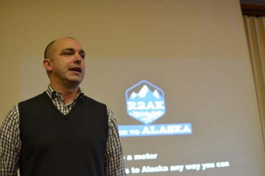 Jake Beattie, Co-founder of the Race to Alaska speaks at the Ketchikan Chamber Luncheon on Tuesday, January 6 2015.