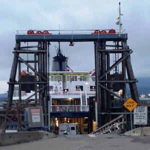 The ferry Taku loads up at the Prince Rupert, B.C., ferry terminal July 24, 2014. Rupert officials are in Juneau, lobbying for continued ferry service. (Ed Schoenfeld/CoastAlaska News)