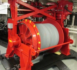 One of the two winches on board the Sikuliaq. They are housed inside the ship, to reduce wear-and-tear.