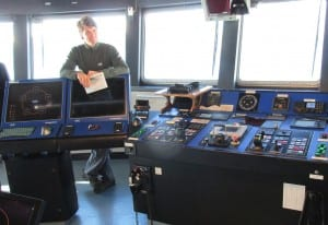 Sikuliaq Captain Adam Seamans on the bridge.