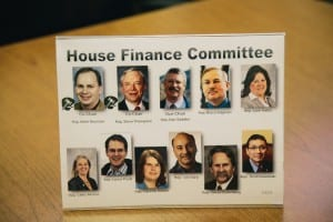 This photo of the House Finance Committee members was on display at the Ketchikan LIO during Tuesday's budget hearing.
