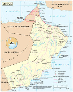 A map of Oman. (Wikimedia Commons image; United Nations map)