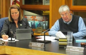 Council Members Julie Isom and Bob Sivertsen are seen during Thursday's discussion of a proposed temporary ban on retail marijuana. (Photo by Leila Kheiry)
