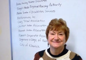 Southeast Senior Services Director Marianne Mills poses with a partial list of other organizations it works with. (Photo by Ed Schoenfeld,/CoastAlaska News)