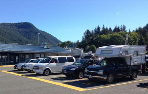 Cars and trucks line up to board the ferry Chenega in Sitka on Sept. 13, 2015. The ferry system carries traffic that ends up in Anchorage and Fairbanks, a new study says. (Ed Schoenfeld/CoastAlaska News)