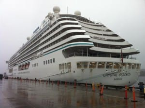 The Crystal Serenity was the first large cruise ship of the 2016 season to stop in Ketchikan. (KRBD file photo)