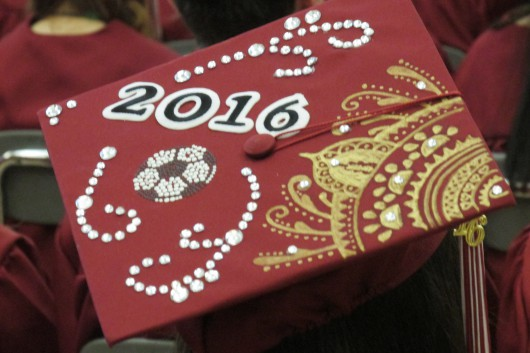 A mortarboard adorned for the 2016 graduation.