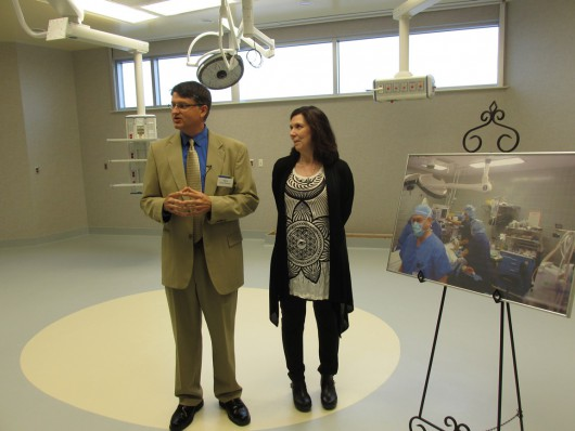 Hospital Foundation Director and Surgery Manager Kimm Schwartz talk about the new, much-larger operating rooms in the PeaceHealth Ketchikan Medical Center addition. (Photo by Leila Kheiry)