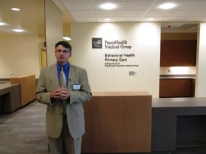 Hospital Foundation Director Matt Eisenhower leads a tour of the new PeaceHealth Ketchikan Medical Center addition. (Photo by Leila Kheiry)