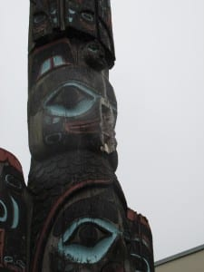Detail of the Chief Johnson pole when the beak fell off.