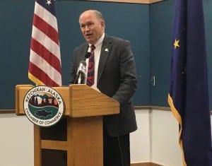 Gov. Bill Walker speaks Thursday to the Ketchikan Chamber of Commerce. (Photo by Leila Kheiry)