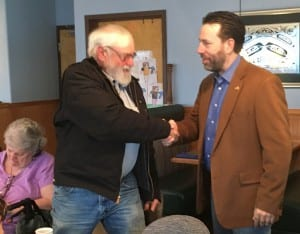 Libertarian candidate for U.S. Senate Joe Miller meets supporters during a campaign trip to Ketchikan. (Photo by Leila Kheiry)