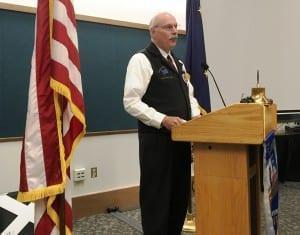 Sen. Bert Stedman speaks during a Chamber of Commerce/Rotary lunch on Wednesday. (Photo by Leila Kheiry)