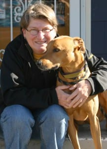 Diane Benjamin treated her Rhodesian ridgeback-greyhound mix with a CBD hemp oil.  (NNN photo by Tom Banse)
