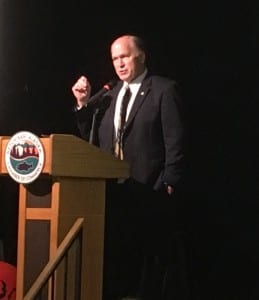 Alaska Gov. Bill Walker speaks to the Ketchikan Chamber Awards Banquet audience on Saturday. (Photo by Leila Kheiry)