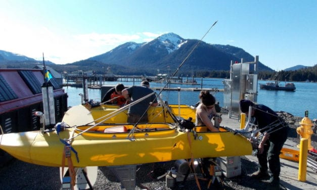 Remote controlled kayaks ready for research at LeConte Glacier