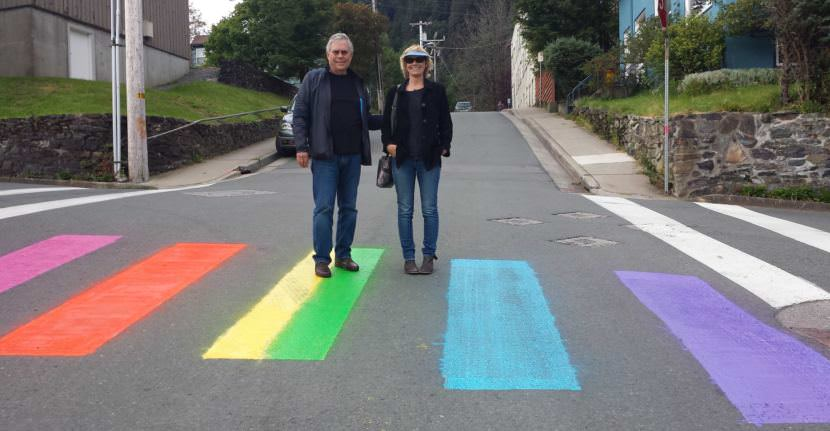 Someone's painting rainbow colors over a Juneau crosswalk; the city wants it to stop