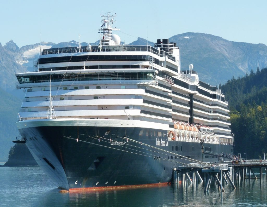 The cruise ship Noordam brought close to 2,000 passengers to Haines on Sept. 20, 2017. It and other ships carried more than 1 million passengers this summer, helping increase the region's tourism economy. (Ed Schoenfeld/CoastAlaskaNews)